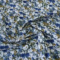 Поплин сорочечный с синим и белым цветочком, ширина 147 см, фото 1