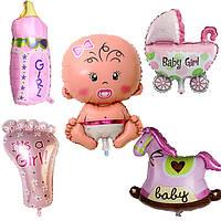 Фольгированные шары для девочки без гелия. 5 шт