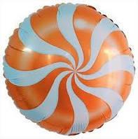 Шарик фольгированный  Леденец оранжевый,  диаметр 45 см.