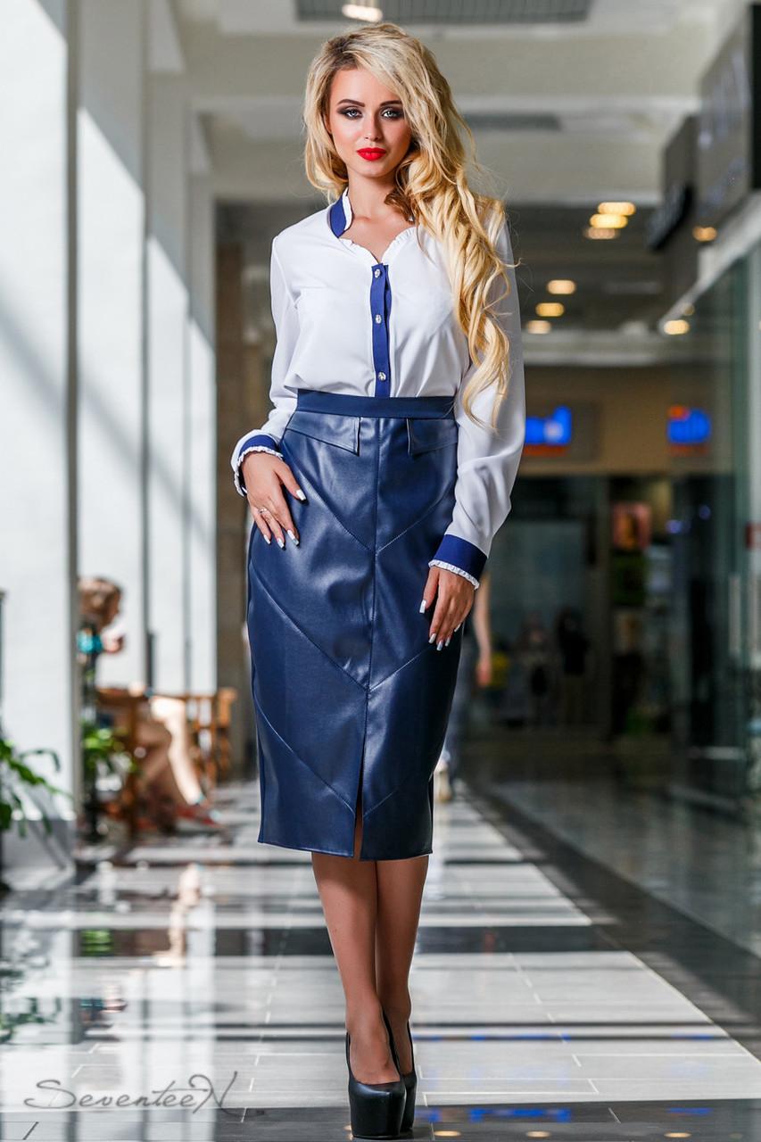 31698cd10f4 Женская синяя юбка юбка до колена с кожаными вставками - Черный Кот в  Харькове