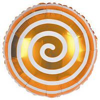 Шарик фольгированный  Спираль золотая,  диаметр 45 см.