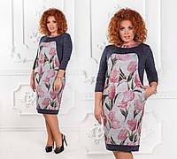"""Элегантное тёплое женское платье в больших размерах 1239-1 """"Ангора Розовые Тюльпаны"""""""