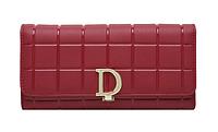 Модный женский классический кошелек из натуральной кожи красного цвета