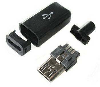 Штекер micro USB бакелит разборной черный, фото 2