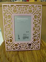 Рамка для фото (10х15) розовая, ажурная, фото 1