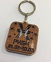 Брелок со знаком зодиака деревянный РИБИ