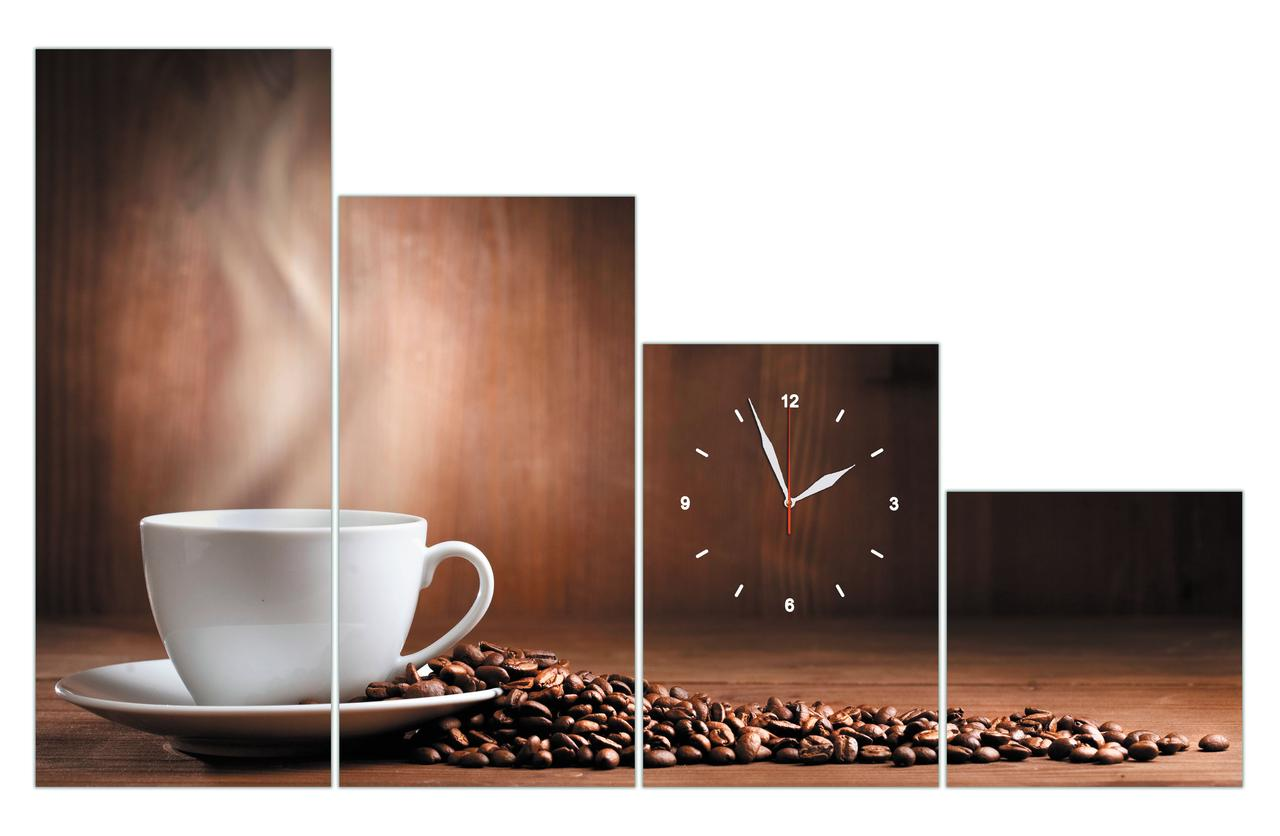 """Модульные часы на стену """"Чашка, зерна кофе на деревянном фоне"""" большие 120х75см"""