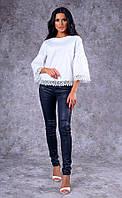Женская хлопковая блуза с кружевом (белая) Poliit № 6571