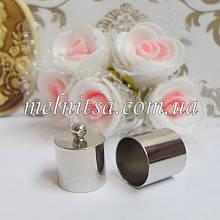 Концевик-колпачок  для шнуров и бисерных жгутов, 6 мм, цвет никель, 1 пара