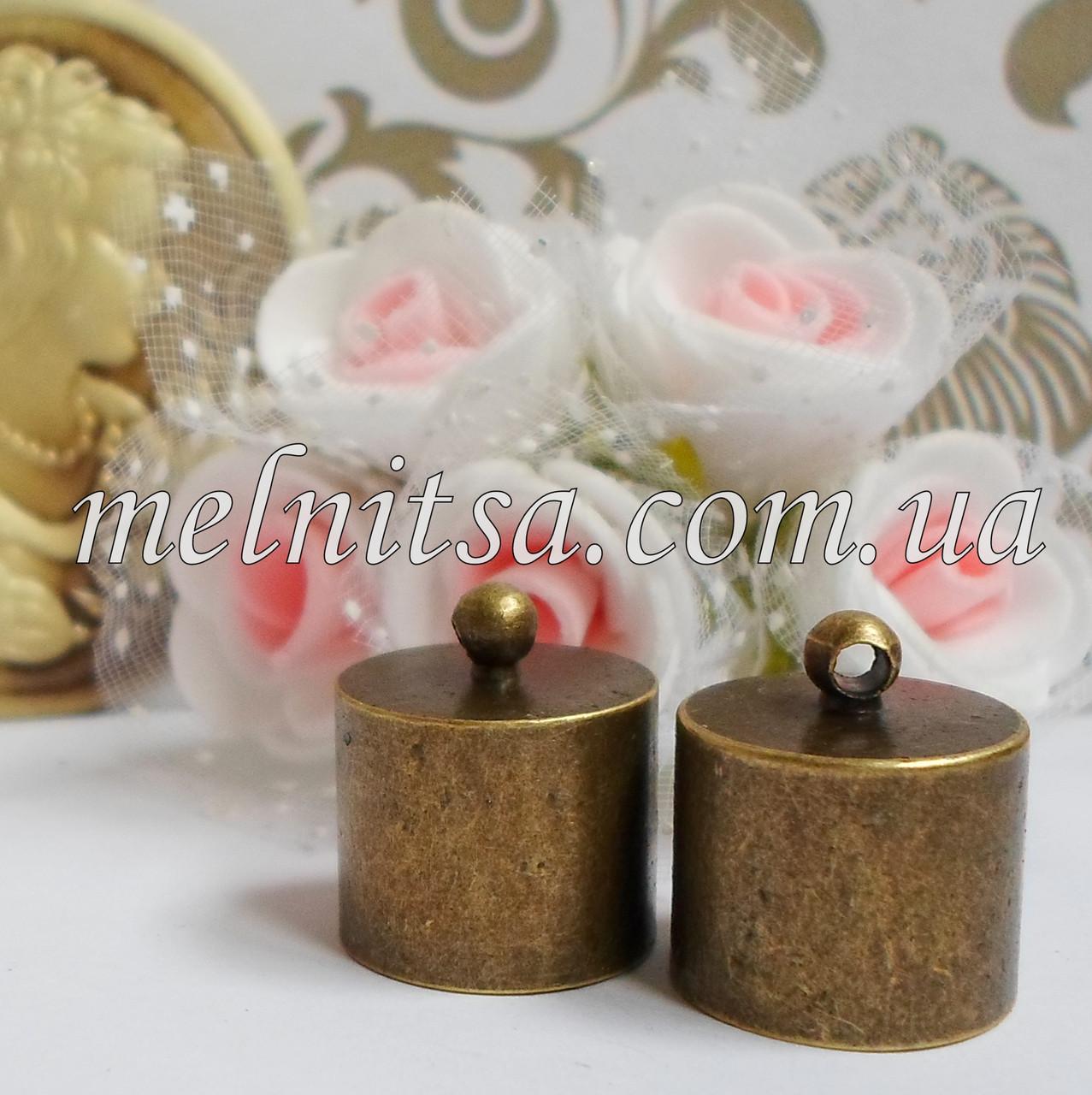 Концевик-колпачок  для шнуров и бисерных жгутов, 15 мм, цвет античная бронза, 1 пара