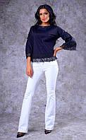 Женская хлопковая блуза с кружевом (черная) Poliit № 6571