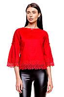 Женская хлопковая блуза с кружевом (красная) Poliit № 6571