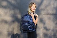 Школьный рюкзак синий глянцевый