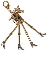 """Подвеска """"Буренка"""" с кристаллами Swarovski, покрытая золотом с родием (m190q360)"""