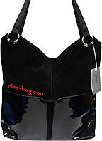 Мягкая сумка с лаковыми вставками черная с натуральным замшем, фото 1