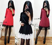 Платье трапеция свободный крой ресничка разные цвета