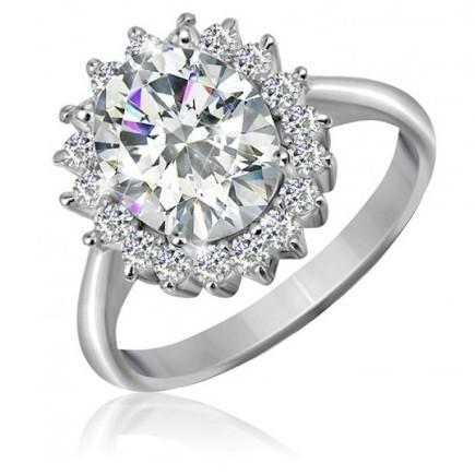 """Серебряное родированное кольцо с камнями """"396"""""""