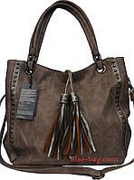 Мягкая женская сумка с кисточкой
