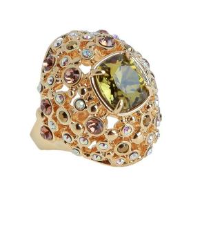 """Кольцо """"Нураг"""" с кристаллами Swarovski, покрытое золотом (r481p033)"""