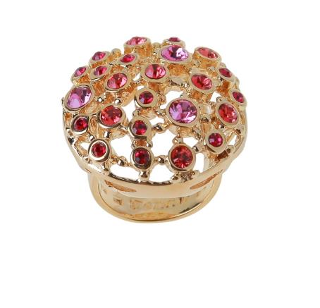 """Кольцо """"Ланусель"""" с кристаллами Swarovski, покрытое золотом (r483p016)"""