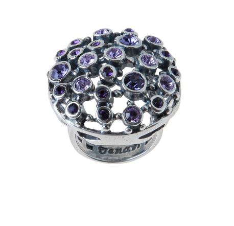 """Кольцо """"Ланусель"""" с кристаллами Swarovski, покрытое серебром (r4833050)"""
