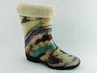 Цветные утепленные женские резиновые сапоги
