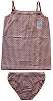 Комплект белья для девочки: майка и трусики, розовый в мелкий белый рисунок, рост 128 см, ТМ Ля-ля