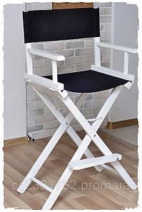 Складной, Профессиональный стул для макияжа белый, ткань чёрная