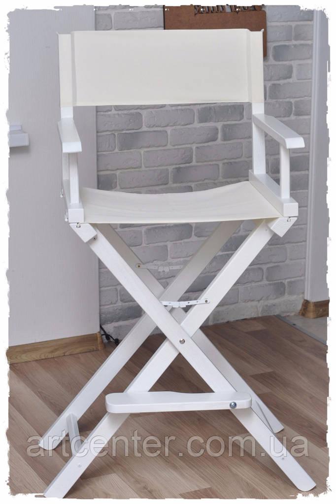 Стул для визажиста деревянный  белый, ткань белая(кресло визажиста)