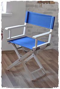 Складаний, професійний стілець для макіяжу білий з синьою тканиною