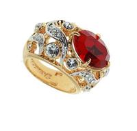 """Кольцо """"Фоскало"""" с кристаллами Swarovski, покрытое золотом с родием (r477q015)"""
