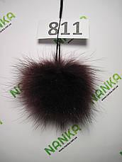 Меховой помпон Енот, Бордо, 9 см, 811, фото 2