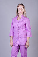 Сиреневый медицинский костюм коттон размер 42-64
