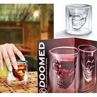 Стакан с черепом внутри DOOMED, стакан для виски с черепом