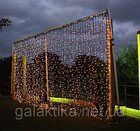 Гирлянда Штора Уличная 2х2 метра 620 led / Premium Curtain IP 65 Световой занавес, Водопад Жёлтый