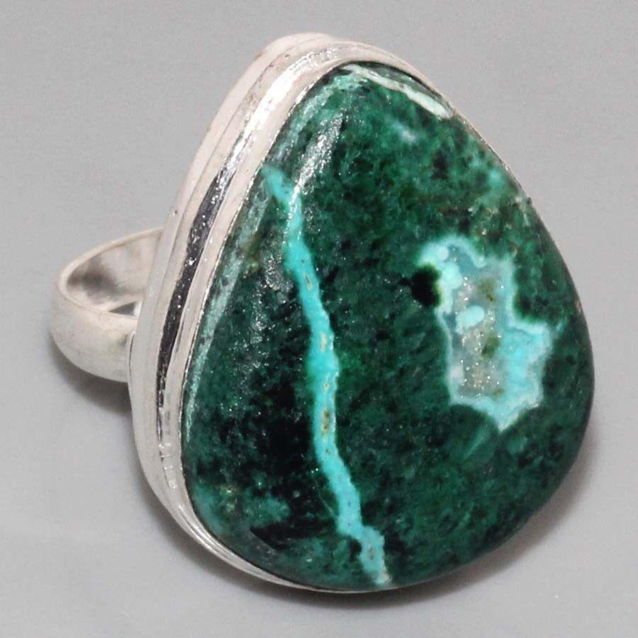 Малахит хризоколла кольцо с натуральной малахитовой хризоколлой в серебре Индия размер 19,5
