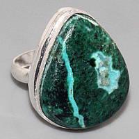 Малахит хризоколла кольцо с натуральной малахитовой хризоколлой в серебре Индия размер 19,5, фото 1