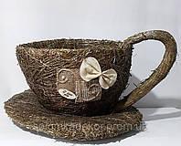 """Кашпо """"чашка""""  солома малая коричневая"""