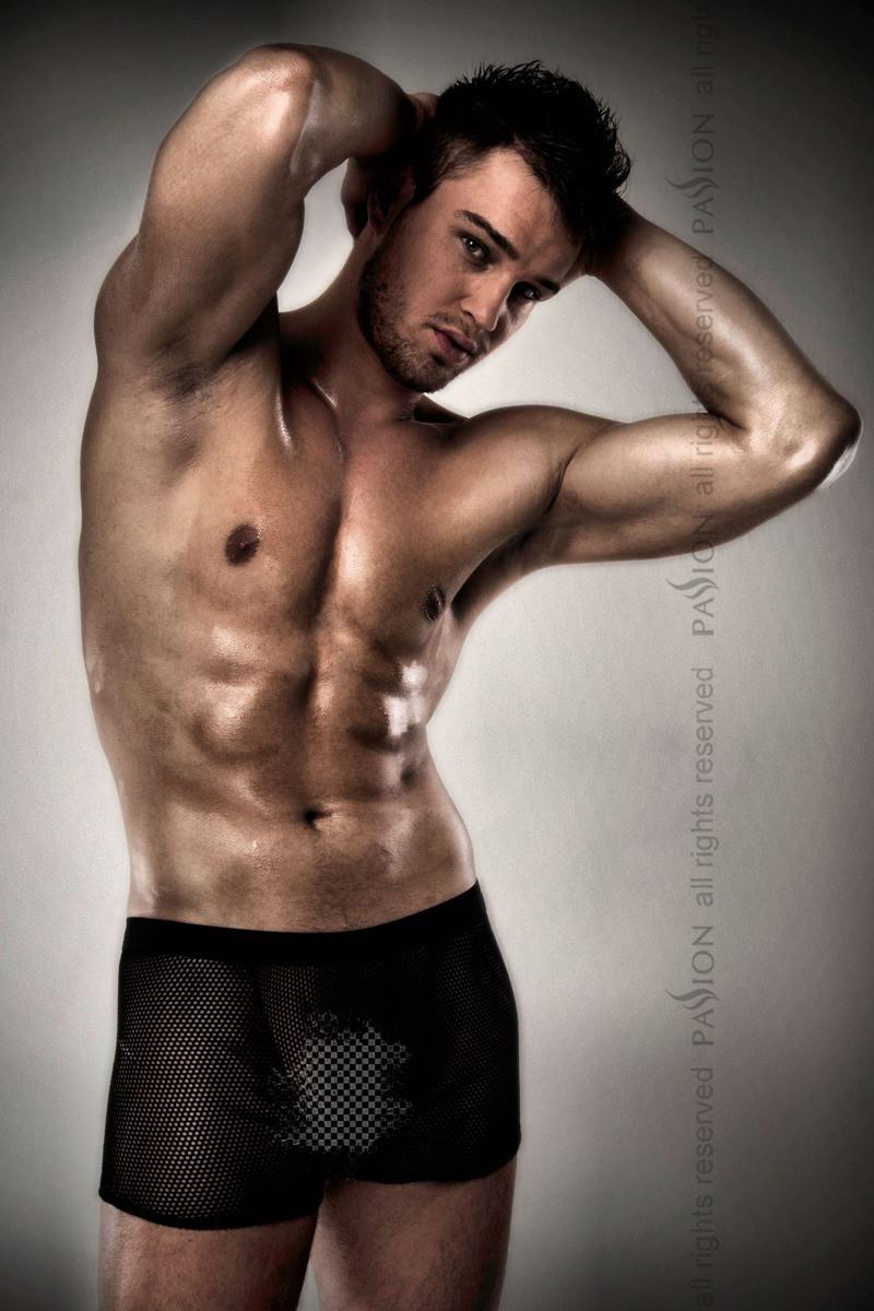Прозрачные мужские шортики  black L/XL - Passion, фото 1