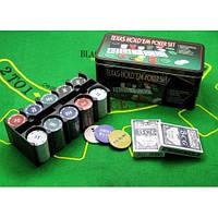 Покерный набор 200 фишек + 2 колоды карт + сукно