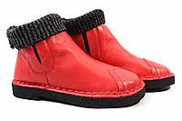 Ботинки Mimi Farrini натуральная кожа, цвет красный (ботильоны стильные, каблук)