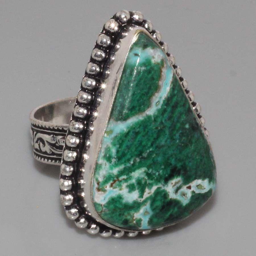 Малахитовая хризоколла кольцо с натуральной хризоколлой в серебре Индия. Размер 18