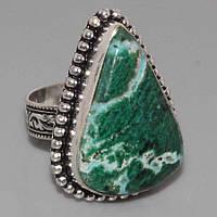 Малахитовая хризоколла кольцо с натуральной хризоколлой в серебре Индия. Размер 18, фото 1