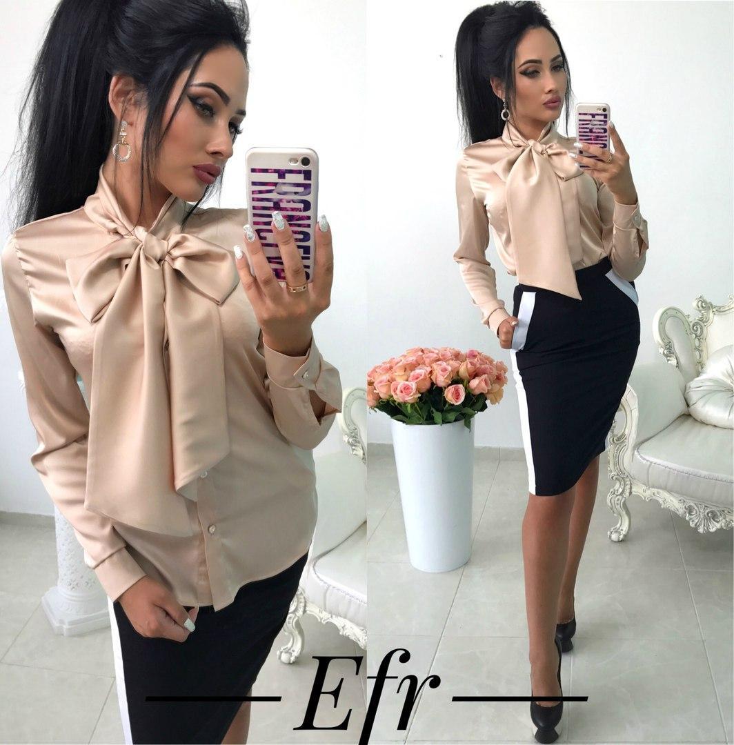 Женская блуза с галстуком