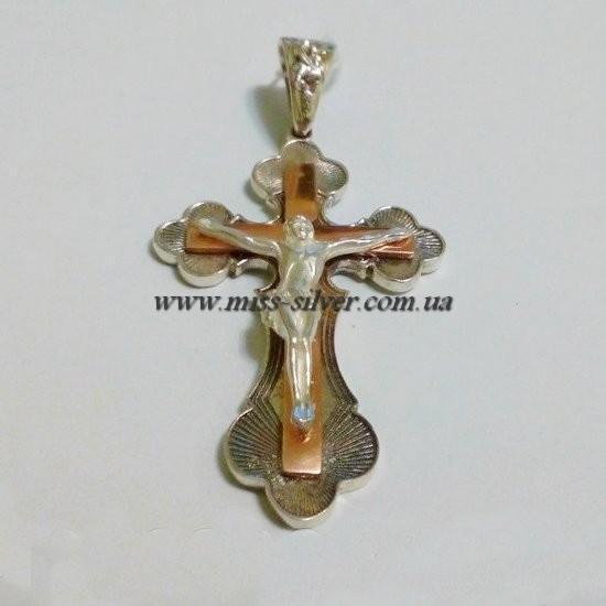 Крестик серебро с позолотой
