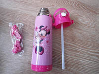 Детский термос для напитков и чая с трубочкой zk g604 500ml Pink