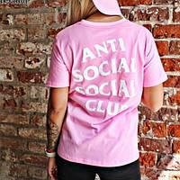 Футболка ASSC женская | Бирки фотки | Розовая Anti Social Social Club