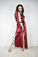 Женский халатик молодёжный длинный с кружевом Турция