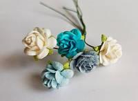 Open Roses Blau
