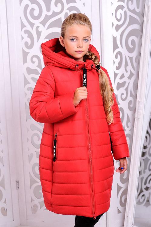 Пальто «Ангел», красное, рост 122